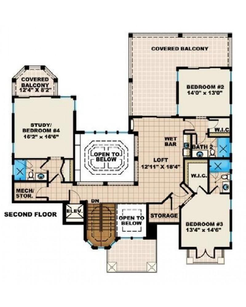 House plan f3 4623 casa bella beach for Piling house plans