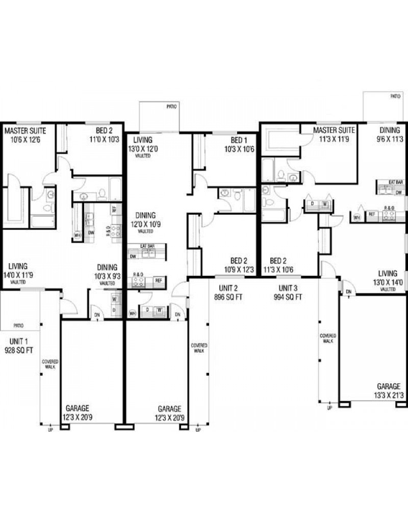 Traditional duplex and triplex house plans joy studio for Triplex floor plans