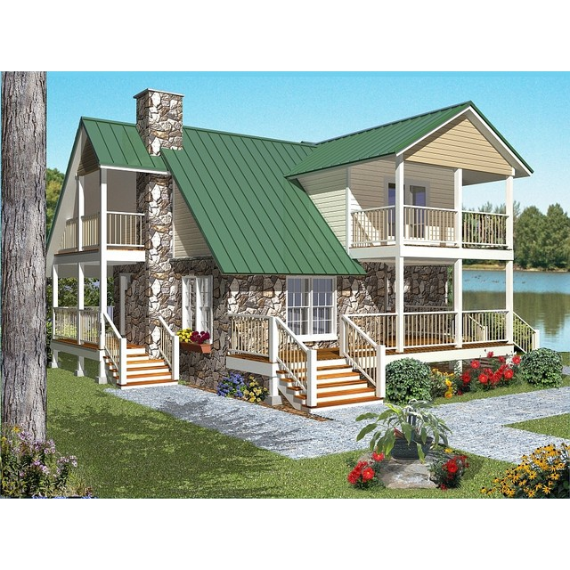 Cabin House Plans blueprint quickview front ep Cabin House Plan