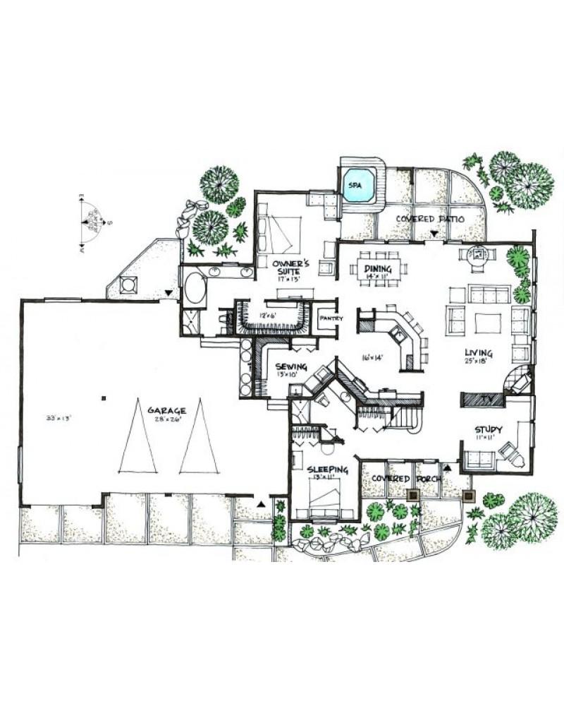 modern ranch floor plans - 808×623