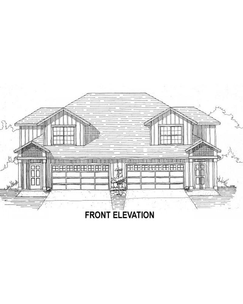 Multi plex plan h1603a duplex colonial for Duplex beach house plans