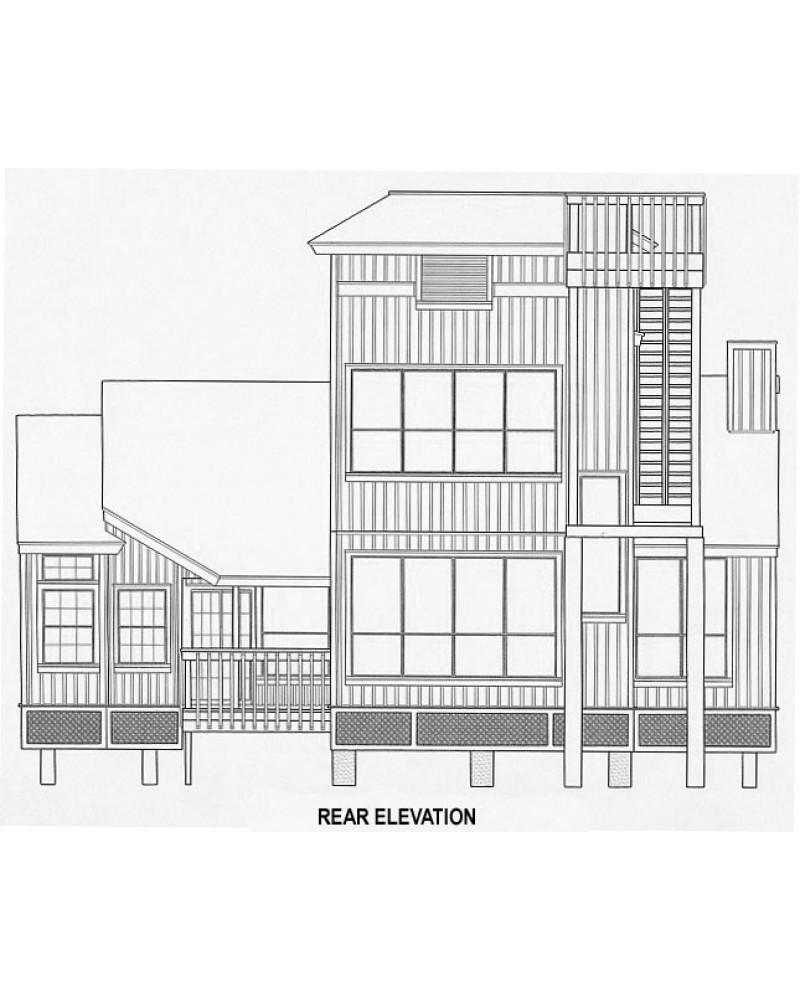 House plan h2306b beach pilings for Narrow lot beach house plans on pilings