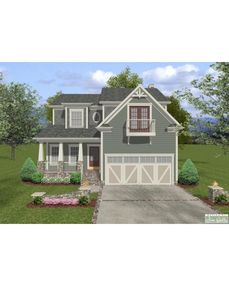 House plan aps2023 craftsman narrow lot View lot home plans