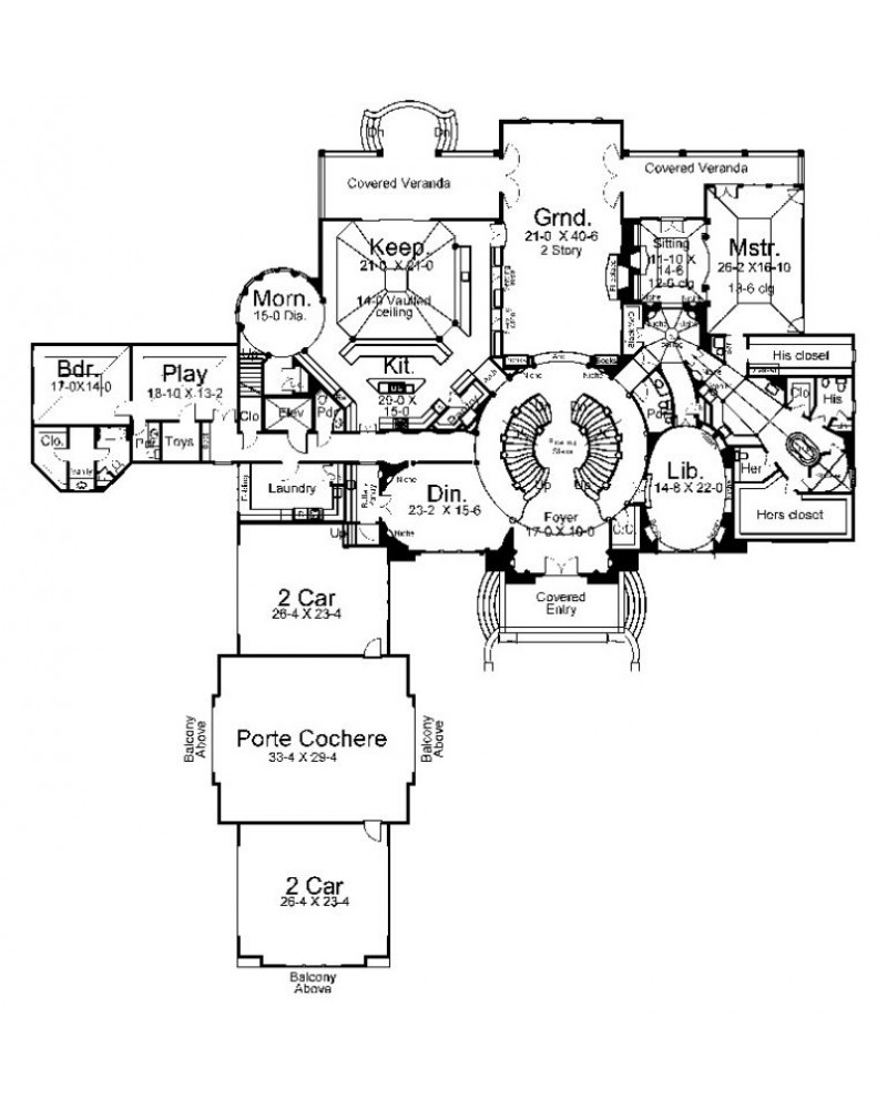 House plan arc cheverny european Large 1 story house plans