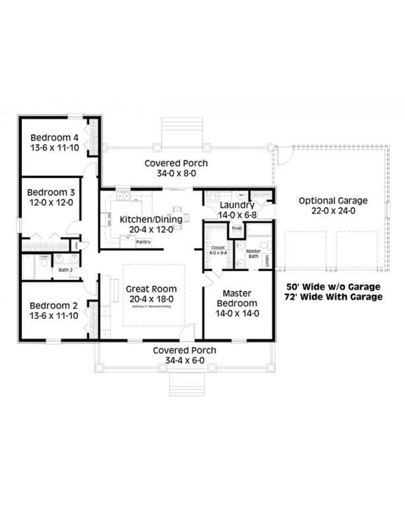 The Cape Cod Ranch Renovation Great Room Continued Kitchen: AmazingPlans.com House Plan #DH-1729