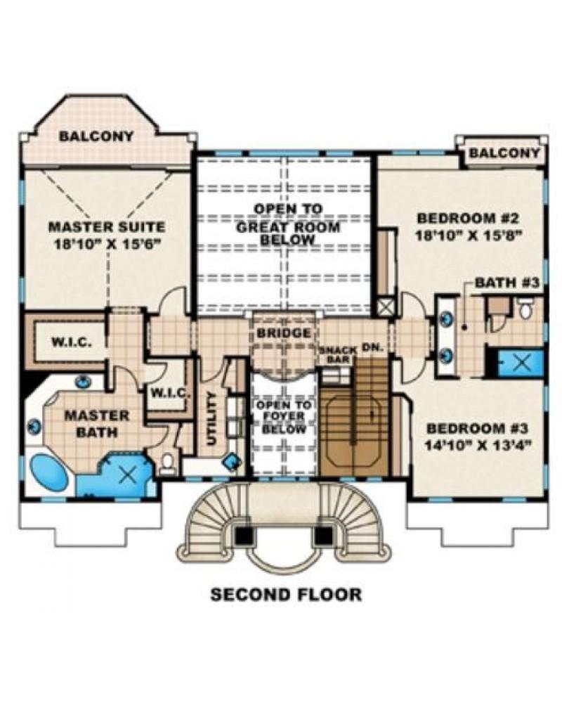 AmazingPlans.com House Plan #F3-3938 Malibu - Luxury, Spanish ...