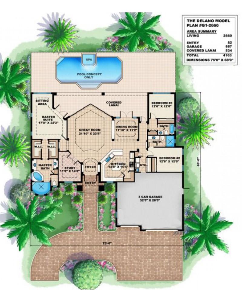 AmazingPlans House Plan G Delano Spanish Medi