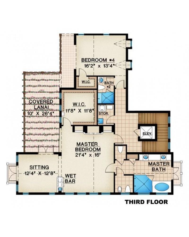 House plan g3 4118 islamorada beach for Narrow lot beach house plans on pilings