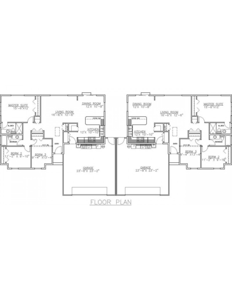 Multi plex plan ghd4005 duplex ranch for Ranch style duplex plans