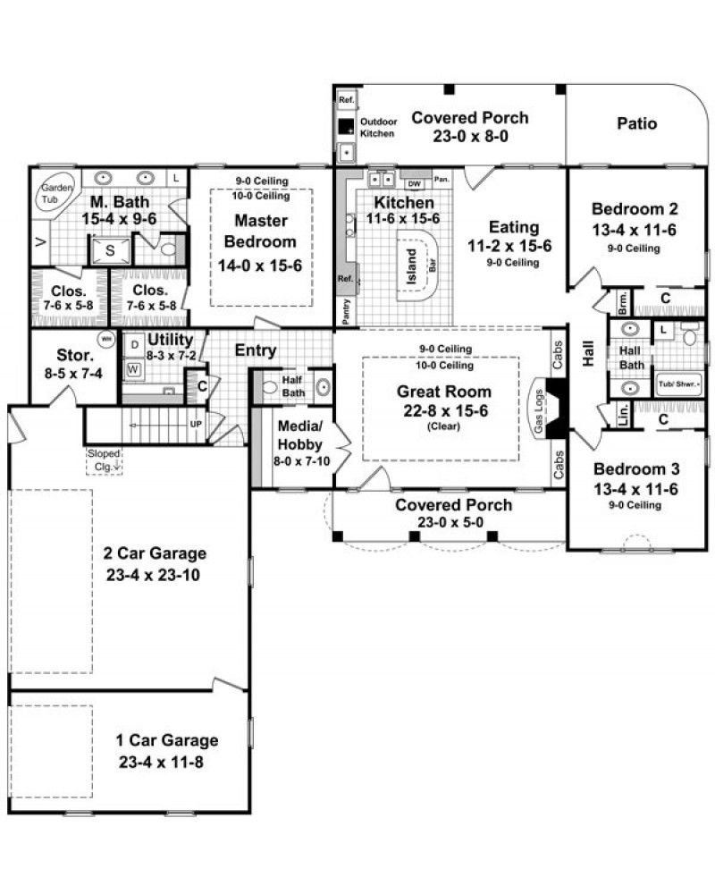 House plan hpg 2000 2 3 country for 2 story european house plans