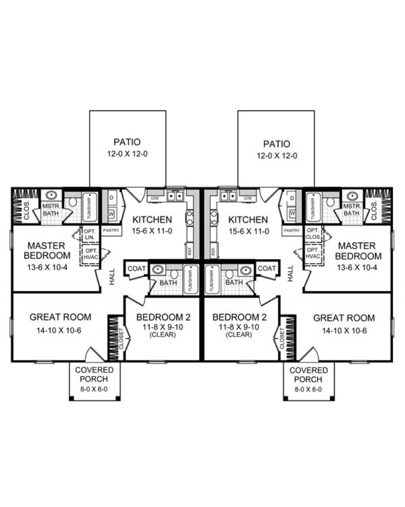 Multi plex plan hpg 825 duplex ranch for Duplex plans and cost