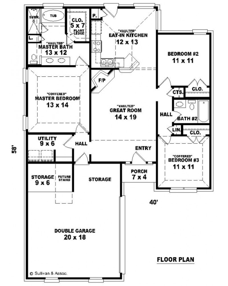 House plan sul 1300 550 ft european for Floor plans 640 square feet