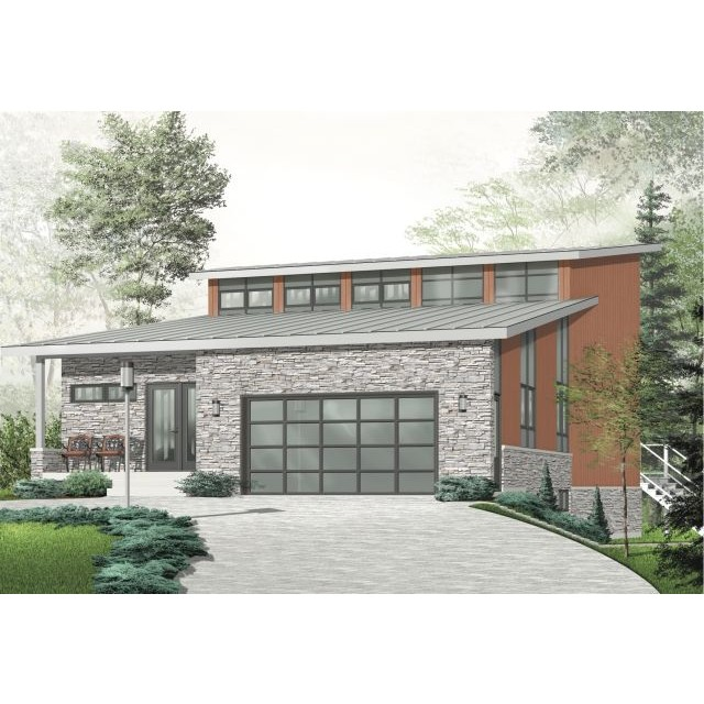 Contemporary style house plans for Sloped lot home designs